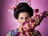 picture of geisha  - Portrait of a Japanese geisha young beautiful woman - JPG