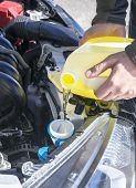 Постер, плакат: Filling Up Windshield Washer Fluid in a Car