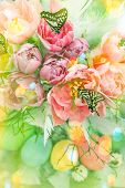 picture of leak  - Pink tulip flowers butterflies and colored easter eggs - JPG