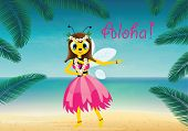 picture of hula dancer  - Vector illustration of hawaiian bee - JPG