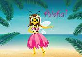 image of hula dancer  - Vector illustration of hawaiian bee - JPG