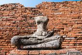 image of gautama buddha  - Broken Buddha the ancient city of Thailand with ancient architecture style - JPG