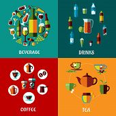 image of alcoholic beverage  - Drinks and beverages flat compositions for cafe - JPG