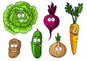 foto of beet  - Cartoon fresh vegetables characters with  cabbage - JPG