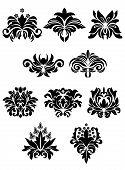 pic of embellish  - Floral design elements set in vintage medieval damask style for ornate and embellishments - JPG