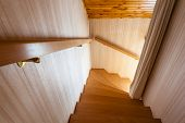 picture of chalet interior  - wooden interior staircase of a chalet or cottage in austria - JPG