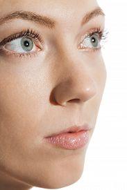 stock photo of eye-sockets  - Conceptual Close up Gray Eye of a Woman Looking Up - JPG