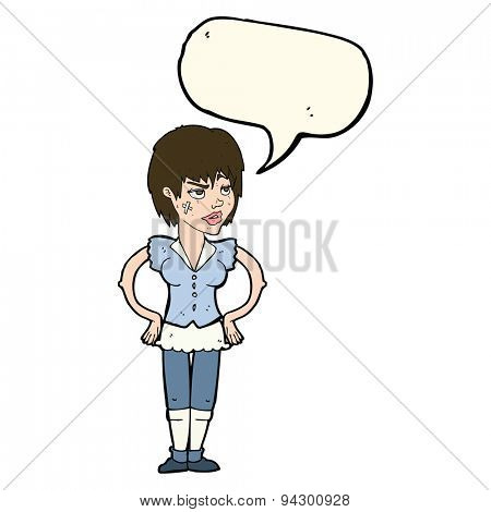 cartoon tough woman with hands on hips with speech bubble