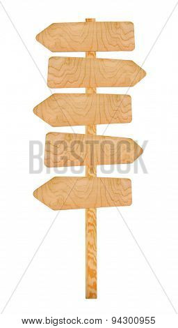 Wooden sign arrows isolated on white