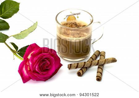 Pink Rose And Glass Of A Cappuccino With Cookies