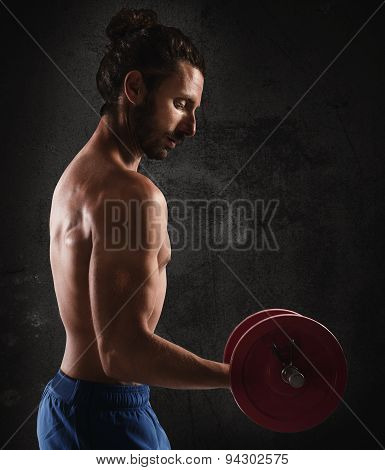 Man training biceps