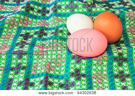 Closeup Of Colorful Easter Eggs On Canvas
