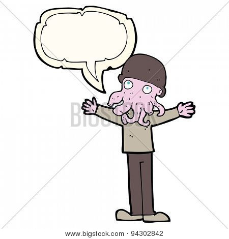 cartoon alien squid face man with speech bubble