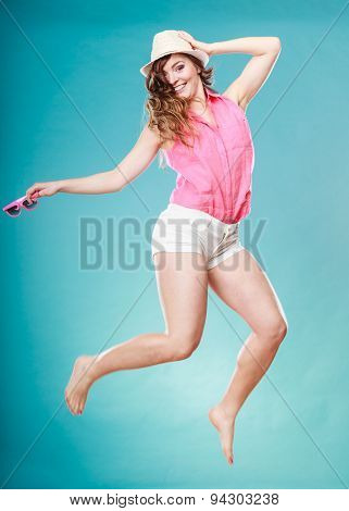 Summer Woman In Straw Hat Jumping