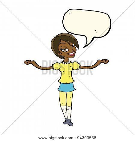 cartoon woman making open arm gesture with speech bubble
