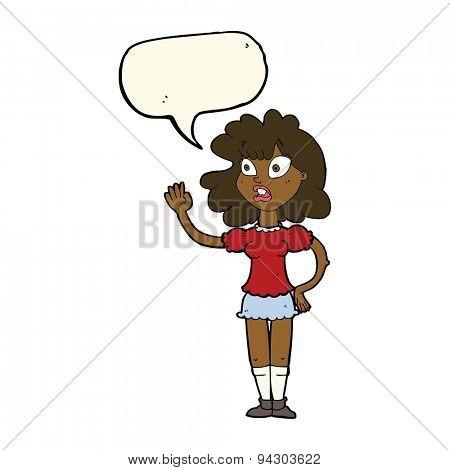 cartoon worried woman waving with speech bubble