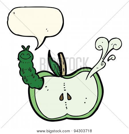 cartoon apple with bug with speech bubble