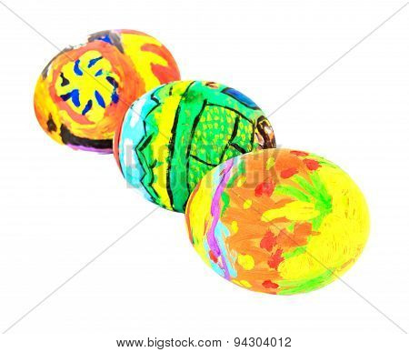 Colorful Easter Eggs Isolate On White Background.