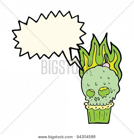 cartoon spooky skull cupcake with speech bubble