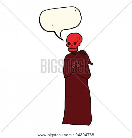 cartoon spooky skeleton in robe with speech bubble