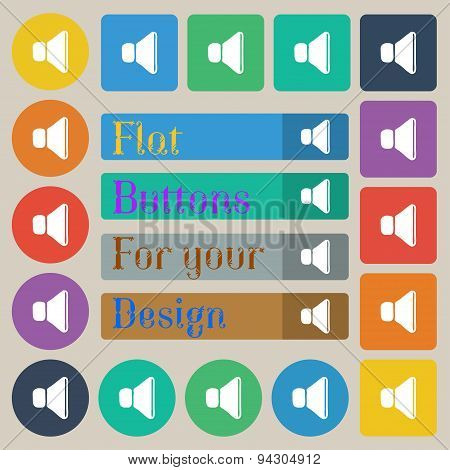 Volume, Sound Icon Sign. Set Of Twenty Colored Flat, Round, Square And Rectangular Buttons. Vector