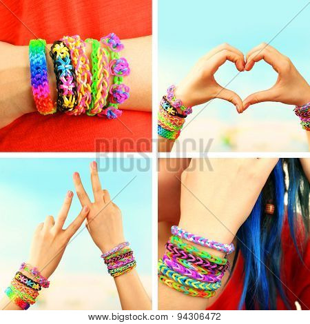 Collage of female hands with bracelets