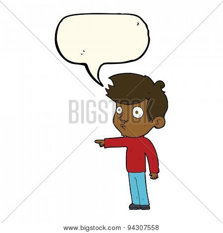 cartoon pointing boy with speech bubble