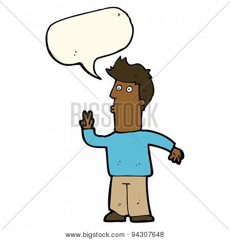 cartoon man signaling with hand with speech bubble