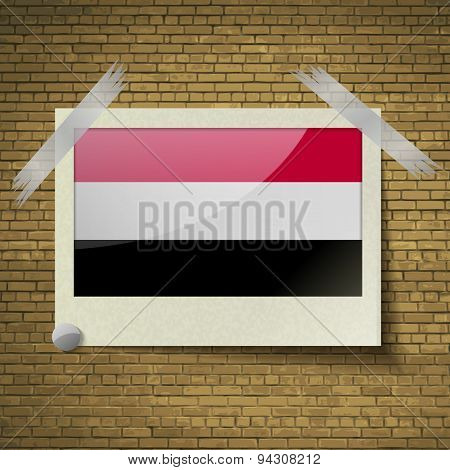 Flags Yemenat Frame On A Brick Background. Vector