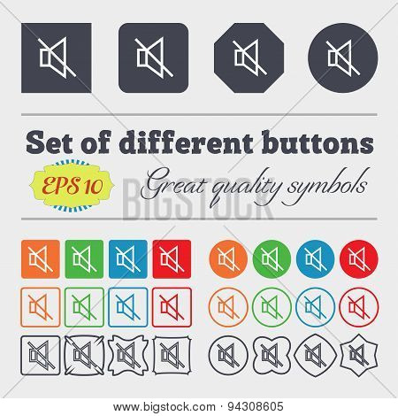 Without Sound, Mute Icon Sign. Big Set Of Colorful, Diverse, High-quality Buttons. Vector