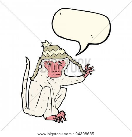 cartoon monkey wearing hat with speech bubble