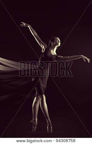 Black-and-white portrait of a graceful beautiful ballet dancer posing at studio. Art concept.