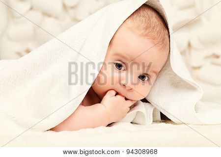 Sweet little baby after bathing. Healthcare.
