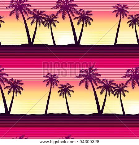 Tropical Palms At Sunset Seamless Pattern