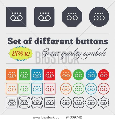 Audio Cassette Icon Sign. Big Set Of Colorful, Diverse, High-quality Buttons. Vector