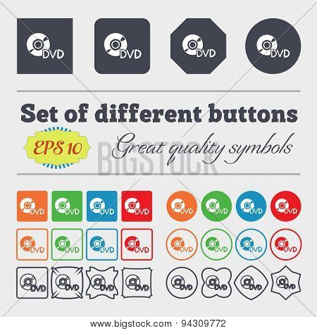 Dvd Icon Sign. Big Set Of Colorful, Diverse, High-quality Buttons. Vector