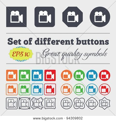 Camcorder Icon Sign. Big Set Of Colorful, Diverse, High-quality Buttons. Vector