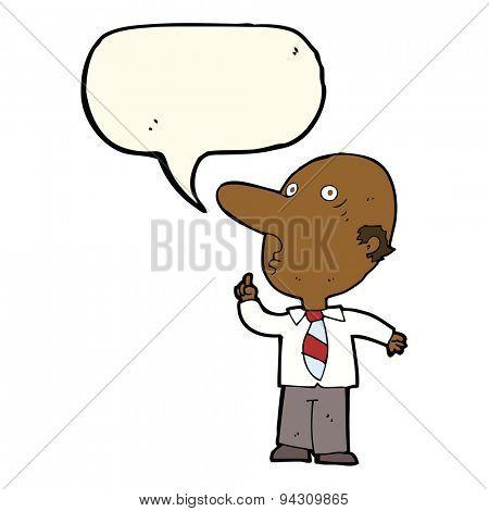 cartoon bald man asking question with speech bubble