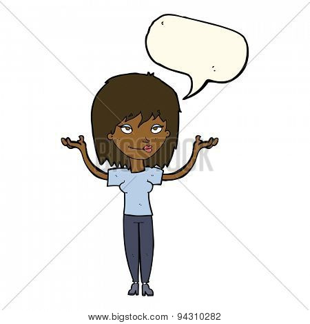 cartoon woman shrugging with speech bubble