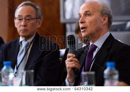 ST. PETERSBURG, RUSSIA - JUNE 22, 2015: Nobel Prize Laureates Roger Kornberg (right) and Steven Chu during Saint Petersburg scientific forum