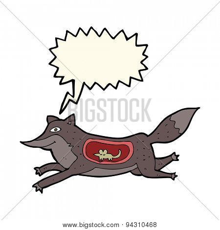 cartoon wolf with mouse in belly with speech bubble
