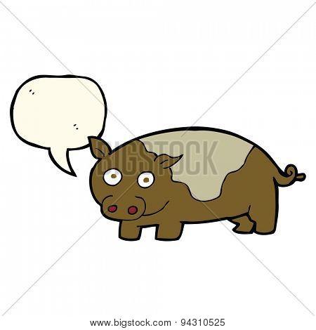 cartoon pig with speech bubble