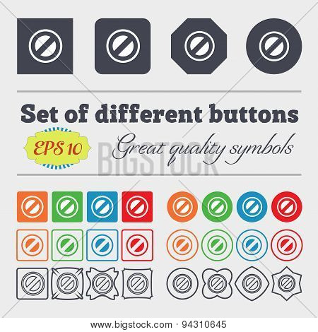 Cancel Icon Sign. Big Set Of Colorful, Diverse, High-quality Buttons. Vector