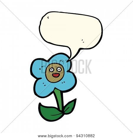 cartoon flower with face with speech bubble
