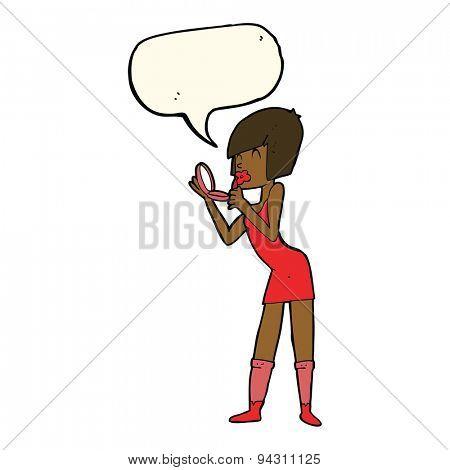 cartoon woman applying lipstick with speech bubble