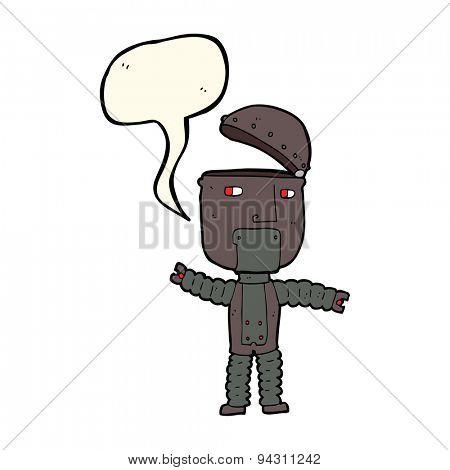 cartoon robot with speech bubble