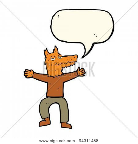 cartoon fox man with speech bubble