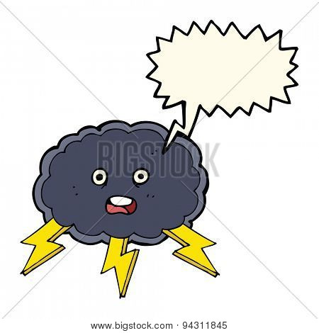 cartoon cloud and lightning bolt symbol with speech bubble