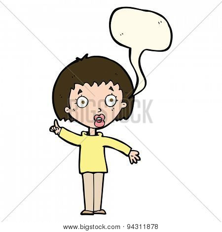 cartoon woman explaining her point with speech bubble