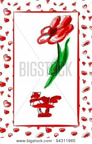 Gift card design with hearts, flower and kisses, For you